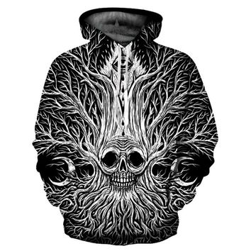 Women & Men 3d Print Tree Root Skulls Thin Hooded Hoodie
