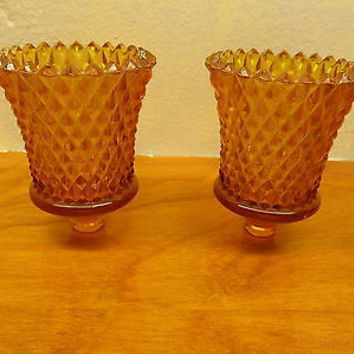 VINTAGE SMALL CANDLE HOLDER GLASS WITH OUT THE HOLDERS A SET