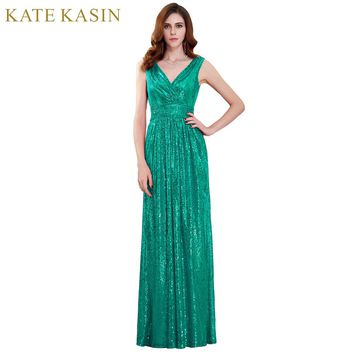 Kate Kasin Sequins Long Prom Dresses 2018 Full Length V Neck Evening Party Dress Vestido de Festa Green Navy Prom Formal Dress