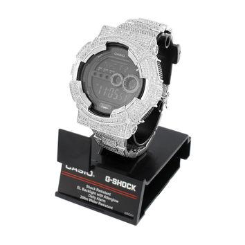 Iced Out G-Shock Watch Mens Custom Simulated Diamonds Digital Metal Band Unique