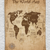 Map Tapestry Decorative Wall World Map Decor Ideas Oceans Continents Compass Old Globe Antiqued Design Students Gifts Tapestry Wall Hanging for Teens Boys Girls Room Bedroom Dorm, Brown Beige
