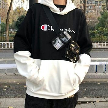 Champion new fashion brand men and women wild personality fashion long-sleeved hooded sweater