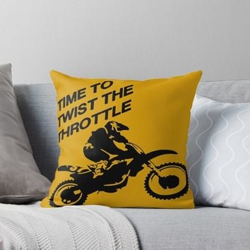'Time To Twist The Throttle Off Road Motocross Biker ' Throw Pillow by taiche