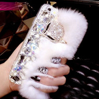 Bling Crystal Rhinestone Furry Fluffy Case for iPhone