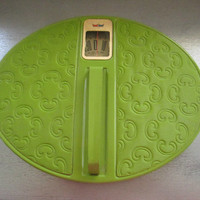 Reserved for Workoutdiva ..Mid Century Bathroom Scale / 1970s Sears Green Quilted Oval Metal