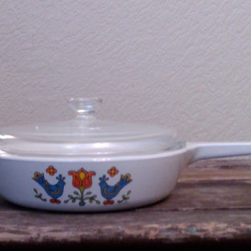 Vintage Corning Ware Bluebird Skillet, Country Festival Pattern, 6 1/2 Inch Pan, Birds, Flowers, Vintage Kitchenware