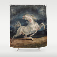 Horse Frightened by Lightning Shower Curtain by ArtMasters