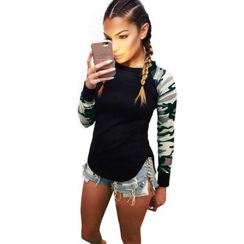 Autumn 2016 Patchwork Long Sleeve Army Camouflage T Shirt Women Tops Fashion Crew Round Neck tshirt Women T-Shirts Tops Tees