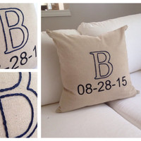 Linen monogram wedding pillow cover- hand embroidered letter with painted anniversary date