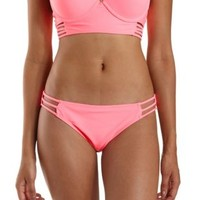 Neon Pink Strappy Caged Bikini Bottoms by Charlotte Russe