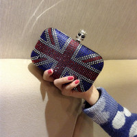 Skull Union Jack Crystal Box Evening Clutch