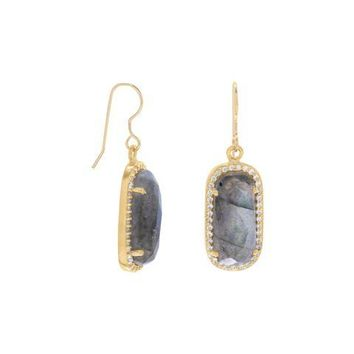 Labradorite with CZ Edge Earrings