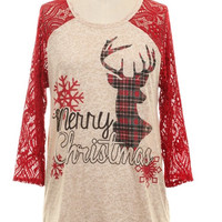 Merry Xmas Plaid Reindeer Crochet Sleeve Tunic, Red