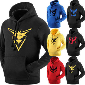 2016 hot  new M to 2xl man women Sweatshirts       ash ketchum Pokemon Go Team Valor Team Mystic Team Instinct Pokeball Hoodies