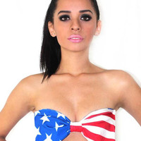 MARIALIA special edition bow-tie bandeau top (stars & stripes)