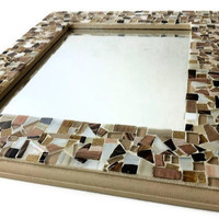 Mosaic Wall Mirror, Wall Art, Neutral Brown and Gold