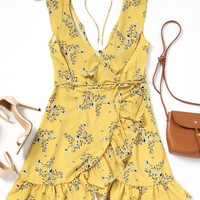 Remi Yellow Floral Wrap Dress