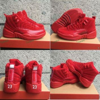 New Released Air Jordan 12 Retro Red Suede Basketball Shoes Men Women 12s Red Suede Sn