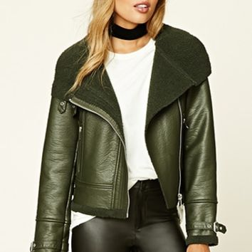 Faux Fur-Lined Moto Jacket