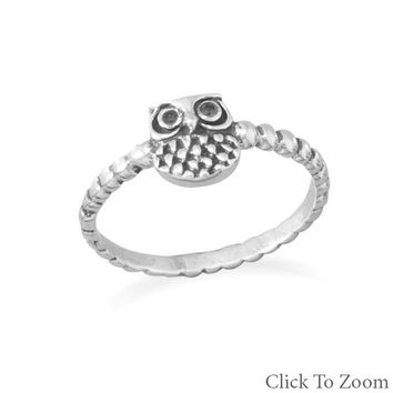 Women's Oxidized Sterling Silver Owl Ring
