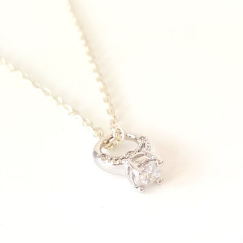 Miniature Diamond Promise Ring Charm Necklace with Sterling Silver or Silver plated Chain, promise engagement jewelry