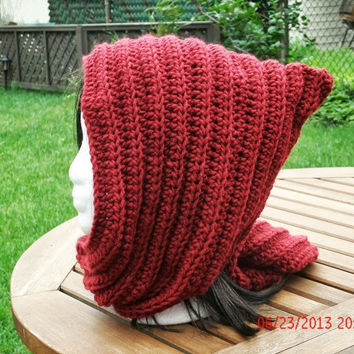 Crochet Hat - The Hoodie in Claret - Hooded Scarf