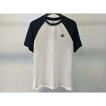 Champion Summer Men and Women Couple Small C Embroidered Raglan Short Sleeve T-Shirt F-Great Me Store White+navy blue