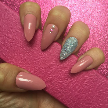 Luxury Hand Painted False Nails. Stiletto Dusky Pink Nails with Swarovski Pixie Crystals . 24 Nail Set.