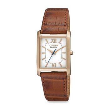 Citizens Ladies' Eco-Drive Rose Goldtone Watch with Brown Leather Strap