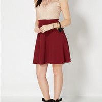 Burgundy First Lace Impression Skater Dress