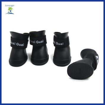 4Pcs/Set Waterproof Pet Dog Shoes Dog Rain Shoes Non-slip Dog Boots for Outdoor Camping
