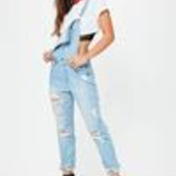 Missguided - Blue Ripped Distressed Dungarees