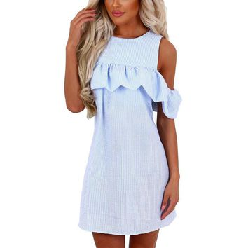 2017 New Summer Dresses Women Fashion Sexy Off Shoulder Striped Vestido Curto Brief O-Neck Puff Sleeve Loose Mini Dress
