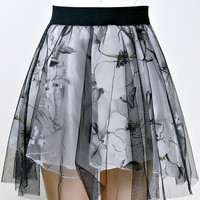 Printed Mesh Overlay Mini Skater Skirt