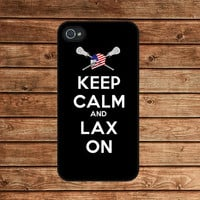 Keep Calm and Lax On Lacrosse Stick--iphone 4 case,iphone 4s case  ,in plastic or silicone case
