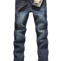 Men's Straight Slim Fit Trousers Jean Pants