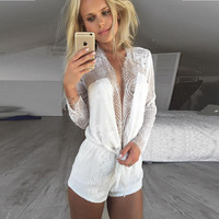 2016 Women Fashion Chiffon Jumpsuits Sexy V-neck long sleeve Casual Jumpsuit rompers womens overalls
