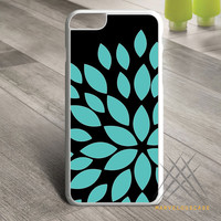 Aqua Turquoise Blue Flower Silhouette Custom case for iPhone, iPod and iPad