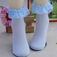 Comfy Cotton Baby Socks Infant Toddler Breathable Lace Frilly Solid Socks HT