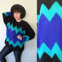 Vintage 1980's Sweater/ Pullover/ OP ART/ Neon Colors/ Chunky Knit/ Chevron Zig Zag/ Abstract Shapes/Graphic/ Boyfriend Cut/ Med