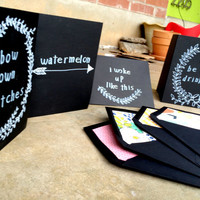 Set of Beyonce Greeting Cards, Beyonce Lyrics, Chalk Board Cards, Funny Cards, Rap Lyrics, Rap Quotes, Blank Greeting Cards, Holiday Gifts