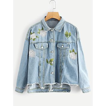 Floral Embroidered Ripped Detail Denim Jacket