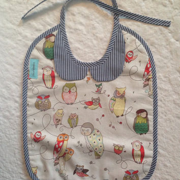 Owl and stripe peter pan collar bib