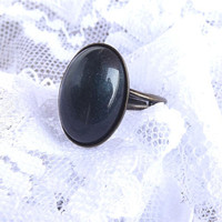 Black Ring With Glitter Onyx Black Ring Black Glass Ring Gatsby Cocktail Ring Statement Ring Gift For Her Summer Fashion Black And White