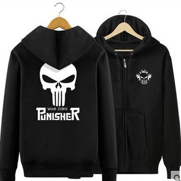 New Winter Jackets and Coats The Punisher Hoodies Anime skull Hooded Zipper Men Casual cardigan Sweatshirts