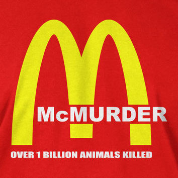 Vegetarian Vegan  T-Shirt Tee Shirt Mens Womens Ladies Youth McMurder Geek Funny McDonalds Parody tshirt
