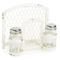 VIP International Salt & Pepper Shakers with Napkin Holder - White