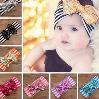 2015 Fashion Children Accessories New Kids Fashion Sequined Hairband Bow Hair Band Headwear = 1958666372