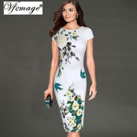 Vfemage Womens Elegant Vintage Flower Floral Print Pinup Tunic 2017 Casual Work Party Special Occasion Bodycon Pencil Dress 6702