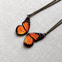 Monarch Butterfly Friendship Necklace, Best Friend necklace, Butterfly Jewelry,Butterfly wing necklace, Free Shipping Worldwide